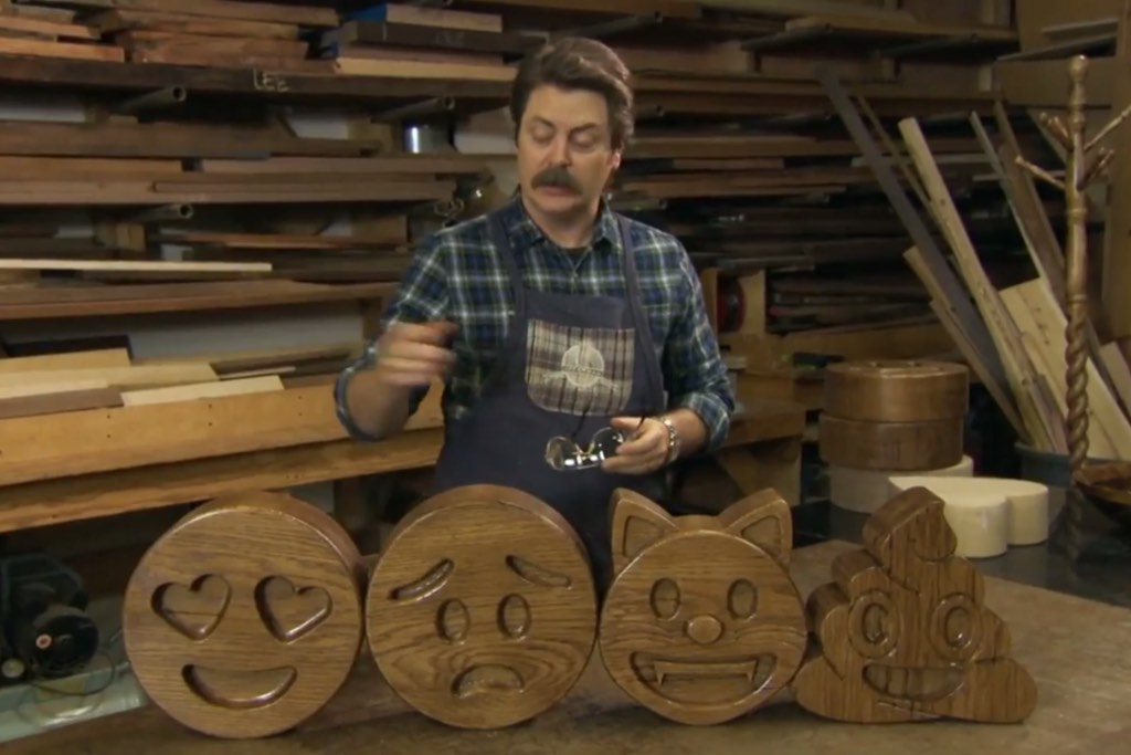 Nick Offerman Is Selling Hand Carved Wooden Emojis That He Made Himself