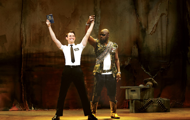 Ryan Bondy as Elder Price, Augustin Aziz Tchantcho as The General in the Australian premiere of THE BOOK OF MORMON at the Princess Theatre, Melbourne. © Jeff Busby