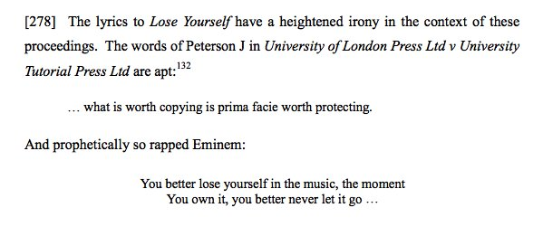 A High Court judge closes a judgement by quoting Eminem