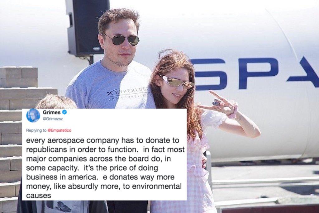 Grimes Defends Elon Musk's Massive Republican Party Donations