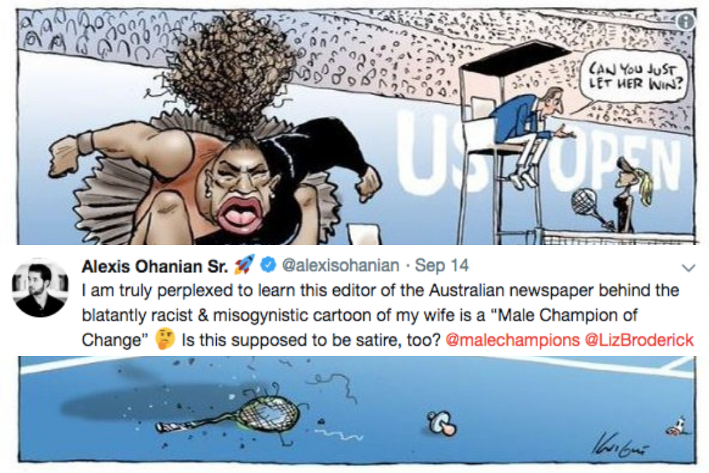 Alexis Ohanian Says Cartoon Of Serena Was 'Blatantly Racist And Misogynistic'
