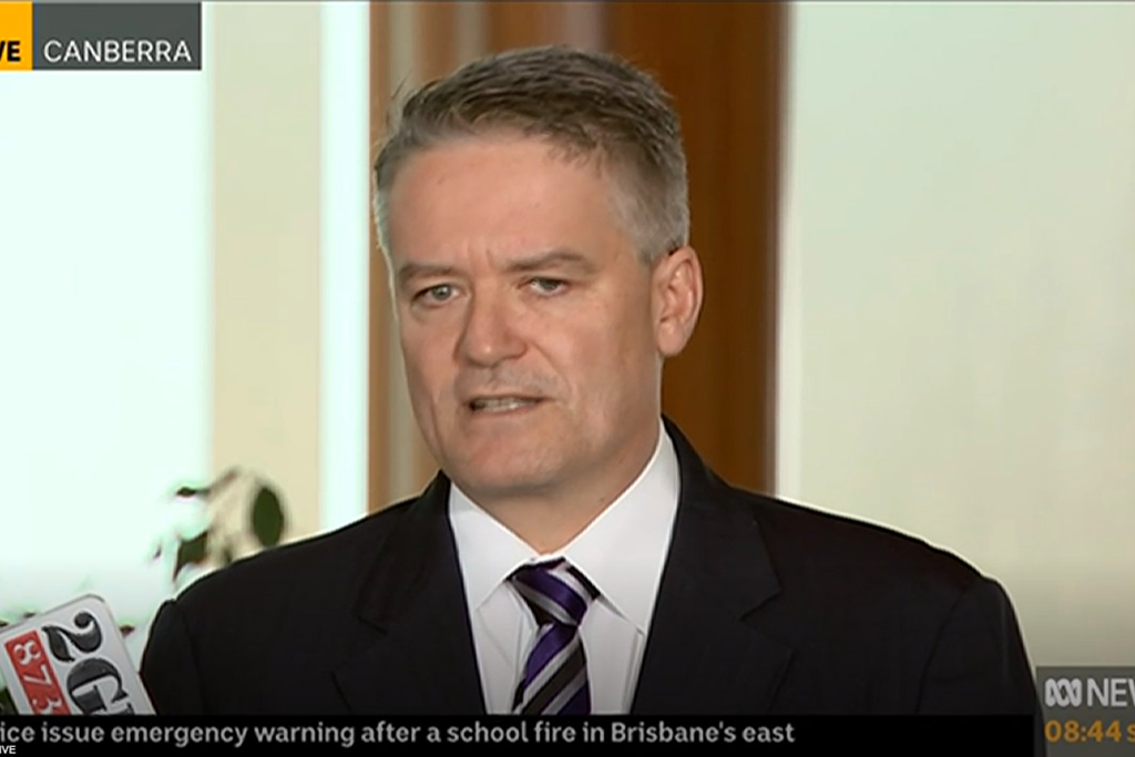 "Mathias Cormann blaming ""administrative failure"" for the government supporting Pauline Hanson's anti-white racism motion."