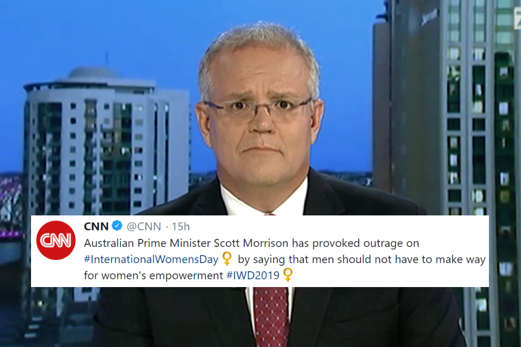 Scott Morrison's terrible International Women's Day speech made it to CNN