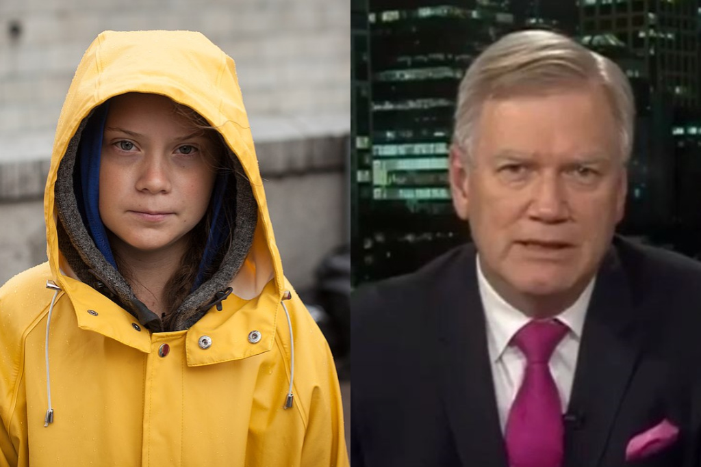 Image result for Images of Greta Thunberg and Andrew Bolt
