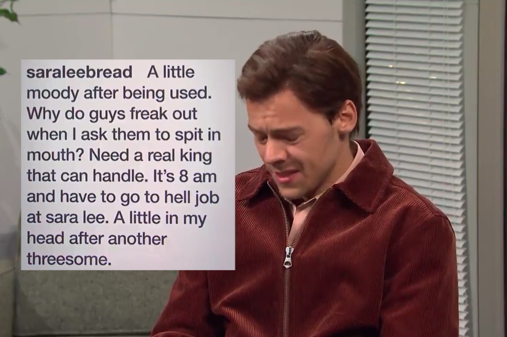 Harry Styles plays Sara Lee's horny social media manager on SNL