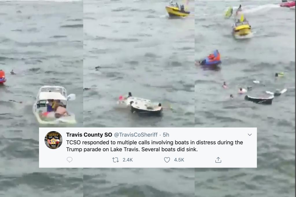 Boats sink at pro-Trump parade in US Texas lake